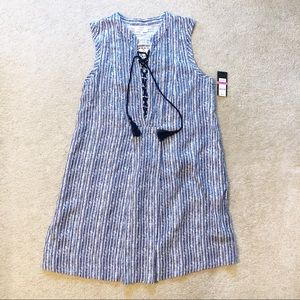 Crown and Ivy Sleeveless Blue Striped Dress
